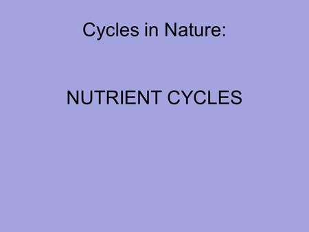 Cycles in Nature: NUTRIENT CYCLES. NUTRIENT CYCLES: ECOSYSTEM TO BIOSPHERE Nutrient cycling occurs at the local level through the action of the organisms.