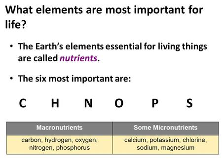 What elements are most important for life? The Earth's elements essential for living things are called nutrients. The six most important are: C H N O P.