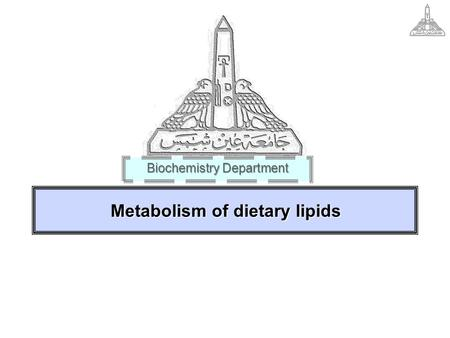 Metabolism of dietary lipids Biochemistry Department.