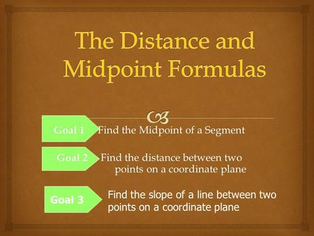 Goal 1 Find the Midpoint of a Segment Goal 2 Find the distance between two points on a coordinate plane Goal 3 Find the slope of a line between two points.