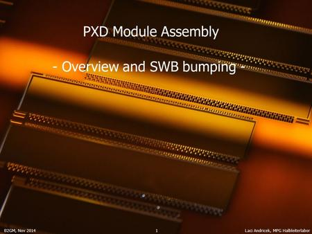 B2GM, Nov 2014 Laci Andricek, MPG Halbleiterlabor 1 PXD Module Assembly - Overview and SWB bumping -