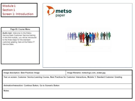 Page ID: Course Menu Audio text: Welcome to the Metso Service Desk Customer Service training. In this first module, you will be introduced to the three.
