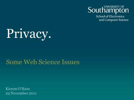 Privacy. Some Web Science Issues Kieron O'Hara 29 November 2011.
