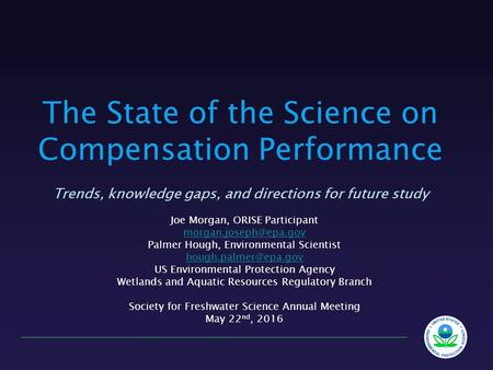 The State of the Science on Compensation Performance Trends, knowledge gaps, and directions for future study Joe Morgan, ORISE Participant