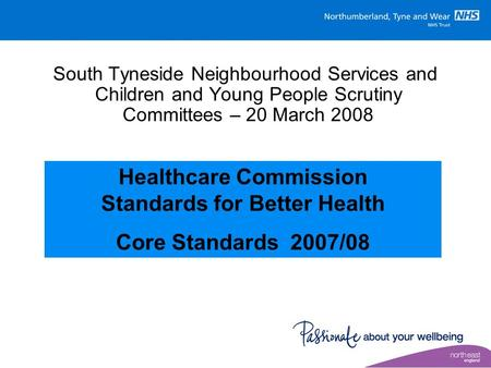South Tyneside Neighbourhood Services and Children and Young People Scrutiny Committees – 20 March 2008 Healthcare Commission Standards for Better Health.