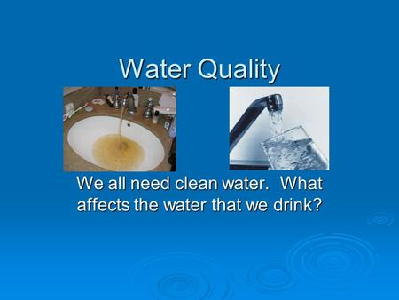 Water Quality We all need clean water. What affects the water that we drink?