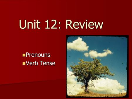 Unit 12: Review Pronouns Pronouns Verb Tense Verb Tense.
