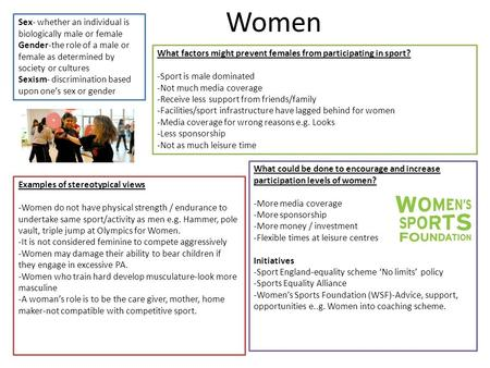 Women Sex- whether an individual is biologically male or female Gender-the role of a male or female as determined by society or cultures Sexism- discrimination.