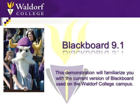 This demonstration will familiarize you with the current version of Blackboard used on the Waldorf College campus.