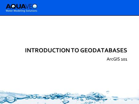 INTRODUCTION TO GEODATABASES ArcGIS 101. Objectives  Give general background for those who are not familiar with geodatabases  Introduce geodatabase.