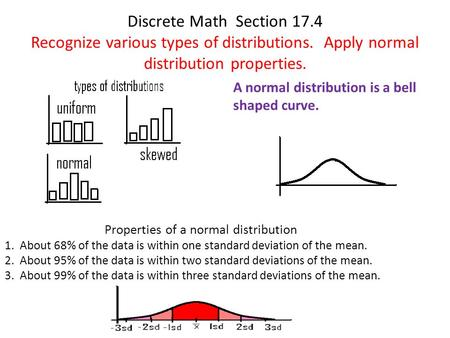 Discrete Math Section 17.4 Recognize various types of distributions. Apply normal distribution properties. A normal distribution is a bell shaped curve.