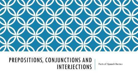 PREPOSITIONS, CONJUNCTIONS AND INTERJECTIONS Parts of Speech Review.