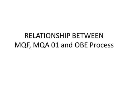RELATIONSHIP BETWEEN MQF, MQA 01 and OBE Process
