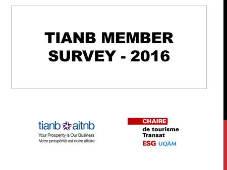 TIANB MEMBER SURVEY - 2016. PRESENTATION  Collection period: April 25 to May 10  Sample size: 56 respondents 2 TIANB Member Survey - 2016 - Transat.