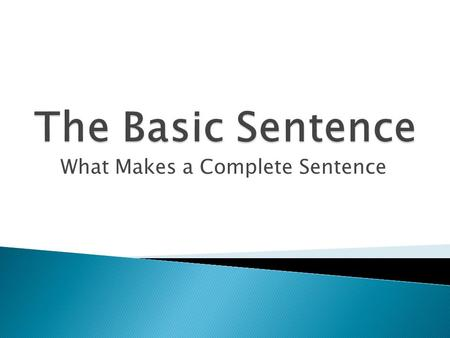 What Makes a Complete Sentence.  A complete sentence contains a subject and a verb and expresses a complete thought.  The Subject: ◦ Most subjects are.