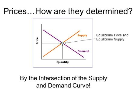 Prices…How are they determined? By the Intersection of the Supply and Demand Curve! Equilibrium Price and Equilibrium Supply.