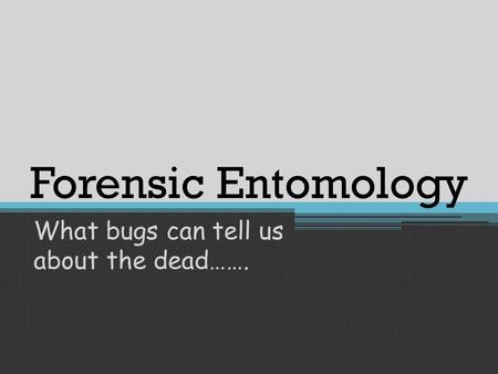 Forensic Entomology What bugs can tell us about the dead…….