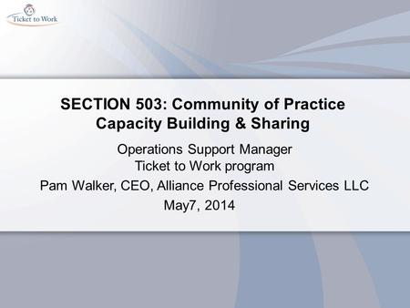 SECTION 503: Community of Practice Capacity Building & Sharing Operations Support Manager Ticket to Work program Pam Walker, CEO, Alliance Professional.