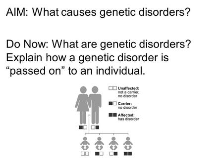 "AIM: What causes genetic disorders? Do Now: What are genetic disorders? Explain how a genetic disorder is ""passed on"" to an individual."