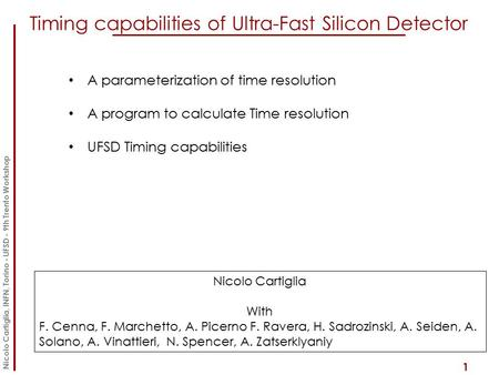 Timing capabilities of Ultra-Fast Silicon Detector 1 A parameterization of time resolution A program to calculate Time resolution UFSD Timing capabilities.