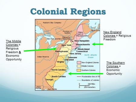 Colonial Regions New England Colonies = Religious Freedom The Middle Colonies = Religious Freedom & Economic Opportunity The Southern Colonies = Economic.