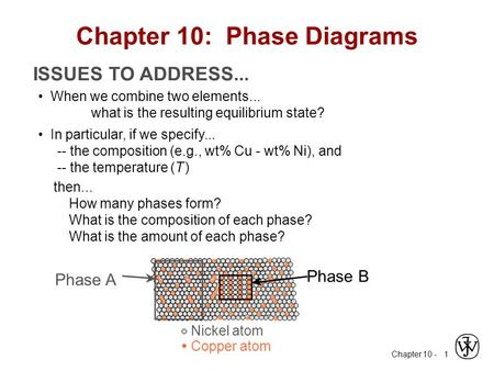 Chapter 10 - 1 ISSUES TO ADDRESS... When we combine two elements... what is the resulting equilibrium state? In particular, if we specify... -- the composition.