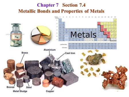 1 Section 7.4 Chapter 7 Section 7.4 Metallic Bonds and Properties of Metals.