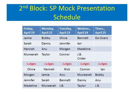 2 nd Block: SP Mock Presentation Schedule Friday, April 19 Monday, April 22 Tuesday, April 23 Wednes., April 24 Thurs., April 25 JamieBobbyOliviaBennettDo-Overs.
