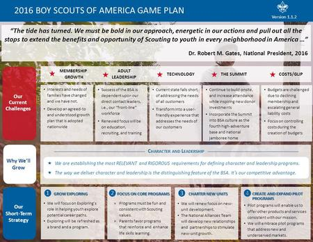 "2016 BOY SCOUTS OF AMERICA GAME PLAN ""The tide has turned. We must be bold in our approach, energetic in our actions and pull out all the stops to extend."