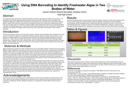 Using DNA Barcoding to Identify Freshwater Algae in Two Bodies of Water Lauren Cottral, Shweta Karmakar, Janalyce Torres Islip High School Results We were.
