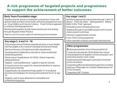 1 A rich programme of targeted projects and programmes to support the achievement of better outcomes Early Years Foundation stage: Targeting specific groups.