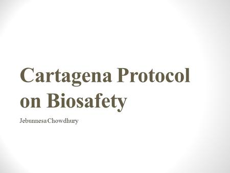 Cartagena Protocol on Biosafety Jebunnesa Chowdhury.