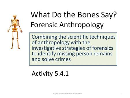What Do the Bones Say? Forensic Anthropology Combining the scientific techniques of anthropology with the investigative strategies of forensics to identify.