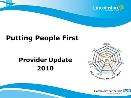 Putting People First Provider Update 2010. Self Directed Support (Personal Budgets) Has to meet the following criteria: –The person (or their representative)