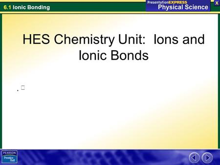 6.1 Ionic Bonding   HES Chemistry Unit: Ions and Ionic Bonds.