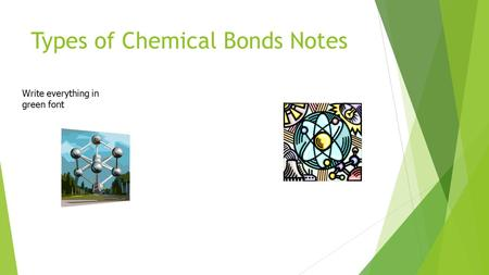 Types of Chemical Bonds Notes Write everything in green font.