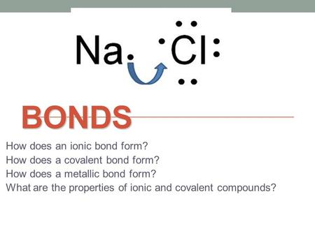 BONDS How does an ionic bond form? How does a covalent bond form? How does a metallic bond form? What are the properties of ionic and covalent compounds?