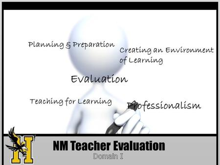 NM Teacher Evaluation Planning & Preparation Creating an Environment of Learning Professionalism Teaching for Learning Evaluation.