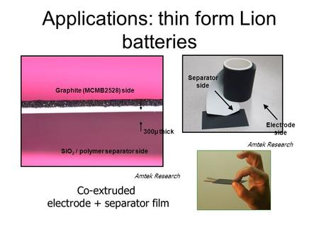 Applications: thin form Lion batteries Electrode side Co-extruded electrode + separator film Separator side Graphite (MCMB2528) side 300µ thick SiO 2 /