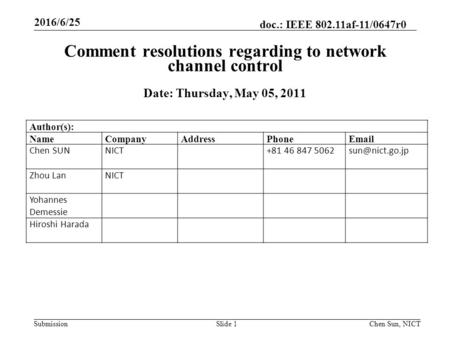 Submission doc.: IEEE 802.11af-11/0647r0 Slide 1 Comment resolutions regarding to network channel control Date: Thursday, May 05, 2011 Chen Sun, NICT Author(s):