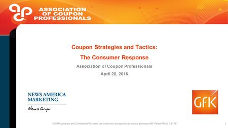 1 Coupon Strategies and Tactics: The Consumer Response Association of Coupon Professionals April 20, 2016 NAM Proprietary and Confidential/For client use.
