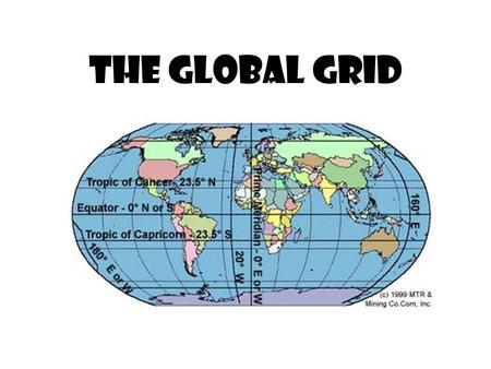 "The Global Grid. The global grid makes it possible to state the ""absolute location"" of a place – exactly where it is."