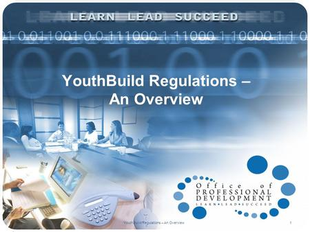 YouthBuild Regulations – An Overview 1. GREGORY WILLIS NATIONAL LIAISON DIVISION OF YOUTH SERVICES YouthBuild Regulations – An Overview2 PRESENTER.