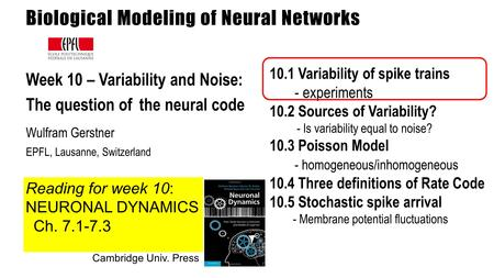 Biological Modeling of Neural Networks Week 10 – Variability and Noise: The question of the neural code Wulfram Gerstner EPFL, Lausanne, Switzerland 10.1.