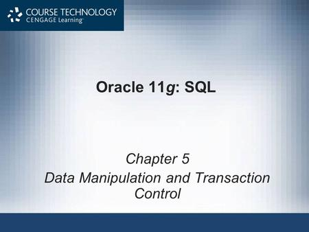Oracle 11g: SQL Chapter 5 Data Manipulation and Transaction Control.