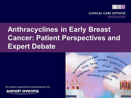 Anthracyclines in Early Breast Cancer: Patient Perspectives and Expert Debate This program is supported by an educational grant from.