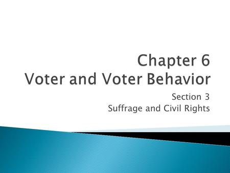 Section 3 Suffrage and Civil Rights. Objectives: * Describe the 15 th Amendment and the tactics use to circumvent it in an effort to deny African-Americans.