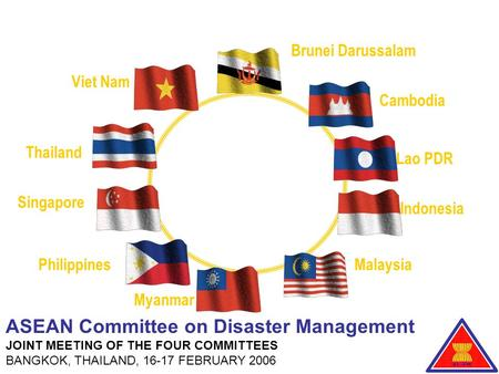 Brunei Darussalam Lao PDR Indonesia Malaysia Myanmar Philippines Singapore Thailand Viet Nam Cambodia ASEAN Committee on Disaster Management JOINT MEETING.