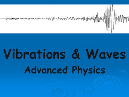 Vibrations & Waves Advanced Physics. What is a wave? A progressive disturbance propagated from point to point in a medium or space.