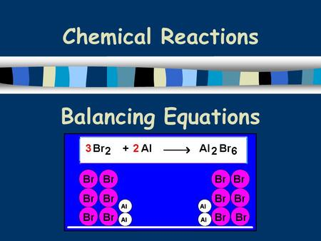 Chemical Reactions Balancing Equations. n In order to show that mass is conserved during a reaction, a chemical equation must be balanced n You do this.